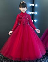 Wholesale Cheongsam Back - 2018 New Cheap Long Sleeves A Line Flower Girl Dresses Embroidery Zipper Back Vintage Girl's Pageant Dress chinese style in cheongsam