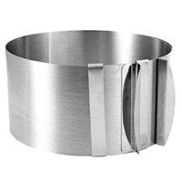 наборы для выпечки оптовых-FJS-выдвижной нержавеющей стали круг мусс кольцо торт выпечки Набор инструментов размер формы регулируемая формы для выпечки серебро