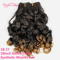 Wholesale Synthetic Curly Hair Wefts - 2018 fashion color Italian curly synthetic hair weaves 20inch ombre color hair wefts free shipping new ombre brown synthetic braiding hair