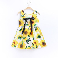 Wholesale Cotton Silk Vest Dress - Summer Girls Full Flowers Printing Big Bow Silk Ribbon Tied rope Korean Style Cotton High-end Boutique Sleeveless Vest Dress 24 Designs