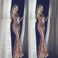 ingrosso abito da sposa abito sirena-Sparkle Rose Gold Paillettes Abiti da sera Mermaid Jewel Neck Bridal Reception Baby Shower Dress Maternità Plus Size Prom Gowns Abbigliamento formale