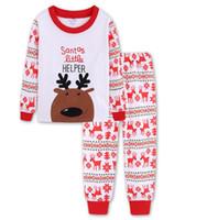 милые комплекты пижамы оптовых-Рождество Дети Пижама наборы 100% хлопок Baby Boy пижамы Strip Девочки Пижамы Cute Nightgown Рождество Детская одежда DHT512