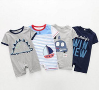 Wholesale boys summer cars clothes for sale - Group buy new baby clothing summer Casual simple style baby romper summer short sleeve cars Bost Animal Design cotton baby romper boy romper