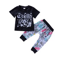 Wholesale toddler boys shorts pattern - Baby Boys Clothes Outfits Hello World Alien Rocket Planet Pattern Black Top+Pants 2-piece set Kid Boy Toddler Summer Boutique Clothing