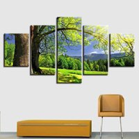 bosque verde arte de la pared al por mayor-Art Prints Decor Wall Canvas Painting Modular 5 Piezas Green Tree Forest Mountain Sunshine Paisaje Natural Pictures Poster Frame