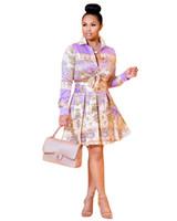 993a44344bdb Vestito casuale da donna e soffici gonnellini a pieghe con stampa a colori  a maniche lunghe