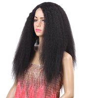 Wholesale 24 hair heat resistant resale online - Kinky Straight Wigs B Density Long Heat Resistant Hair Fiber Synthetic Lace Front Wigs For African American Women