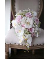 ingrosso seta artificiale avorio-Romantico avorio rosa bouquet da sposa a cascata De Mariage rose orchidea fiore di seta artificiale fatto a mano bouquet da sposa 2018 ramo de flores