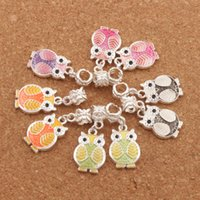 Wholesale Animal Enamel - 6Colors Enamel Owl Charm Big Hole Beads Dangle 50pcs lot 13.5x32mm Fit European Charm Bracelets B1599