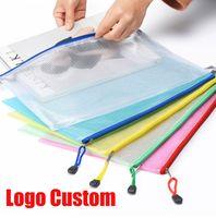 Logo Custom Waterproof Plastic Zipper Paper File Folder Book Pencil Pen Case Bag File document bag A4 A5 Size for office student supplies