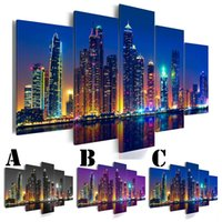 Wholesale sea wall art panels for sale - Group buy Wall Art Picture Printed Oil Painting on Canvas No Frame Home Decor Extra Mirror Border Landscape City Building Sea Night