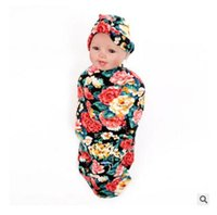 Wholesale bedding purple green flower for sale - Swaddle Wrap Blanket Baby Flower Nursery Bedding Towelling Baby Infant Wrapped Towels with Flower Hats Gifts for Baby Blanket