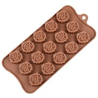 gül döküm kalıpları toptan satış-Sevgililer Günü Hediyesi Çikolata Kalıpları Silikon Food Grade Gül Çiçek Şekli DIY Kek Jöle Puding Kalıpları Pişirme Araçları