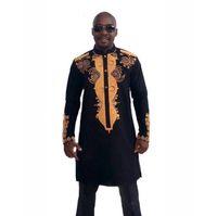 traditionellen stand großhandel-2018 African Traditional Kleider Männer Stehkragen Lange Printed Sleeve Pullover Shirt Herren T-Shirt Schwarz 2XL