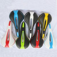 Wholesale hollow saddle for sale - Group buy Double Color Bicycle Saddle PV Leather Cycling Cushion Seat For Outdoor Sports Hollowed Out Design Bike Saddles Top Quality cp B