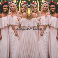 Wholesale latest wedding dresses bridesmaid for sale - Group buy 2018 Latest Blush Pink Bohemian Style Bridesmaid Dresses Sexy Ruched Off Shoulder Chiffon Long Prom Dresses Pretty Party Dress For Wedding