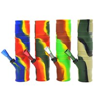Wholesale Water Washable - Retail Wholesale 200MM Portable Unbreakable Bongs colorful Silicone Smoking Water Pipes Washable Foldable portable bongs Smoking water pipe