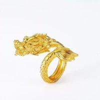 mascote jóias venda por atacado-MGFam (212R) Dragon Rings Para Viril Masculino Virar Ajustado 24 k Banhado A Ouro China Mascote Estilo Nacional de jóias