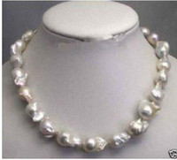 """Free shipping Jewelr 004784 Rare fine Large 15--23mm White Unusual Baroque Pearl Necklace disc Clasp 18 """""""