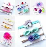 Wholesale Rainbow Flower Bow - 2017 new INS baby unicorn rainbow bowknot headband hair bow 5PCS SET kids girls cute rainbow unicorn flower bow Christmas hair bands gift