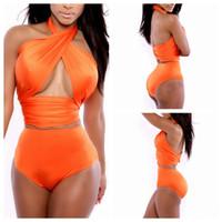 schöner bikini sexy großhandel-Frauen-Sommer-Sandy-Strand feste Versammlung zweiteiliger Bikini reizvolle moderne rückseitige schöne hohe Elastizität Badebekleidung Y1Y052