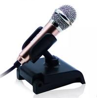 microfone condensador estéreo mini venda por atacado-3.5mm de áudio plug Wired Mini Microfone com Suporte Microfone Condensador Estéreo Portátil para Conversar / Cantar / Karaoke / PC / Telefone / Ipad LLFA