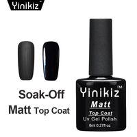 abrigo negro brillante al por mayor-Yinikiz 2017 Top Base Coat Color Negro Mate Brillante UV LED Soak Off Gel Polish Set Superficie Helada Mate Top Coat Gel