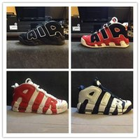 Wholesale Bull Buckles - 2017 Newest Airs More Uptempo SUPTEMPO Basketball Shoes OLYMPIC RELEASE Bulls Gold Varsity Maroon Black Mens Shoes