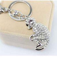 Wholesale bronze bling - Fashion Women Favor Lovely Monkey Style Key Ring Bling Rhinestone Keychain For Bag Car Pendant Keys Buckle Charms 6 6br Z