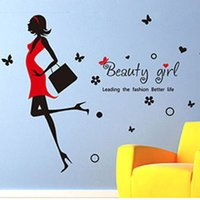Wholesale wall stickers women - Hot creative fashion Modern Beauty girl home decor wall sticker pretty girl women room clothing store decoration