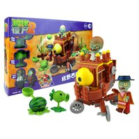 ingrosso piante selvatiche-Plants vs Zombies Building Blocks Giochi di tiro The Wild West Large Scene 202Pcs