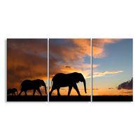 arte de parede sala africana venda por atacado-3 peças de alta definição de impressão paisagem africana lona pintura a óleo cartaz e wall art sala de estar imagem FZ3-002