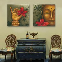 Wholesale abstract art oil painting buddha for sale - Group buy HD Print pieces Buddha Flower canvas wall art print painting canvas modern home decor wall art living room decor PT0759 Y18102209