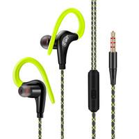 новый крюк для микрофона оптовых-Новые спортивные наушники с подвижной катушкой In-ear и Ear-Hook типа HIFI Mega Bass с микрофонными наушниками