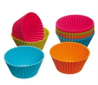 Wholesale cupcake for sale - 7cm Round Shaped Silicone Cake Baking Molds Jelly Mold Silicon Cupcake Pan Muffin Cup Colors Party Accessory Baking Cup Mold