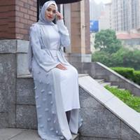 xl roupa feminina muçulmana venda por atacado-Plus Size Mulheres Kimono Mujer 2018 Boho Abaya Muçulmano Longo Patchwork Lace Mesh Cardigan Maxi Dubai Turco Oração Islâmica Roupas