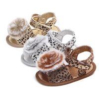 ingrosso scarpe prewalker leopard-Moda bambino leopardo fibbia cinturino fiore palla scarpe infantile scarpe pantofola bambina primo prewalker