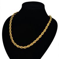 Wholesale 24k gold necklace chain online - 24K Gold Filled Necklace For Men Heavy Charming Fine Jewelry Long Choker MM Hip Hop Rope Cuban Link Chain Hot Sale Limited