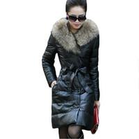 женская зимняя одежда высокого качества оптовых-2017 autumn winter artificial raccoon fur Coats women's winter long leather clothing overcoat outerwear size S-4XL High quality