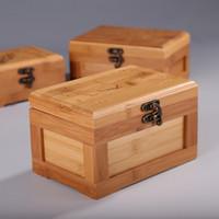 tarjetas de algodón al por mayor-Caja de almacenamiento de tarjetas de visita de bambú Cajas de joyería de madera Bastoncillo de algodón Caja de almacenamiento de llaves Cajas de regalo Contenedores