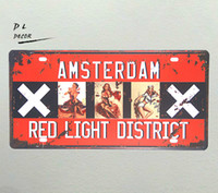 Wholesale Lighted Poster Sign - DL-AMSTERDAM RED LIGHT DISTRICT Metal signs vintage Retro Shabby chic Tin poster wall plaque