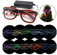 Wholesale luminous kids glasses - LED Party Glasses Fashion EL Wire Glasses Birthday Halloween Party Bar Decorative Supplier Luminous Glasses Eyewear