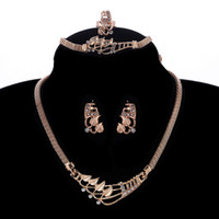 schlange geformte halskette kette großhandel-ganze saleExquisite Schlangenkette Halskette Ohrringe Armband Ringe Ein Satz Schmuck Sets mit Blattform