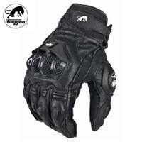 guantes blancos de verano al por mayor-Furygan Verano Hombres Transpirable AFS6 Guantes de Motociclismo Racing Cuero Guantes Carbon Knukle Protección Gants Moto Negro Blanco B