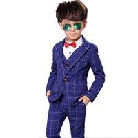 свадебный мальчик оптовых-Цветочные мальчики плед формальный костюм дети свадьба день рождения платье пиджак жилет брюки 3шт ребенок смокинг выпускного вечера костюм N40