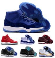 Wholesale Dark Green Velvet - New Air 11 Basketball Shoes Men Women Bred Space Jam Blue Heiress Velvet Relo 11s XI LIKE 82 UNC Chicago Concord Replicas Sneaker