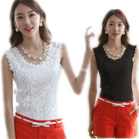 Wholesale Crochet Sleeveless Blouse - 2018 Plus Size XXL Summer Women Blouse Lace Vintage Sleeveless White Black Crochet Casual Shirts Tops