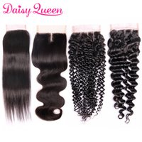 Wholesale Accessories Curly Hair - 8A Mink Brazilian Virgin Human Hair Lace Closure Wholesale Peruvian Malaysian Straight Body Wave Deep Wave Kinky Curly Closure Natural Color