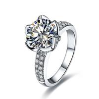 schicke sterling silber ringe großhandel-Chic 1 CT simuliert Edelstein Ehering Platin überzogen Lotus Fancy Ring nicht verblassen 925 Sterling Silber Jubiläum Schmuck Ringe für Frauen