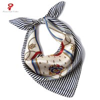 Wholesale Silk Square Neck Scarves - scarf 100% Silk Scarf female Small Square neck Luxury Brand Women bandana high quality headHair necklace Wrap 2018